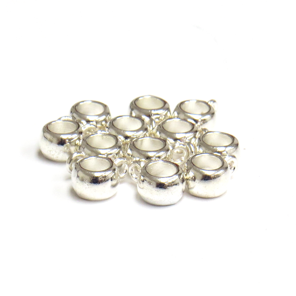 Flat Spacer Bead with Loop, Silver, 5 x 11mm, 12 pieces