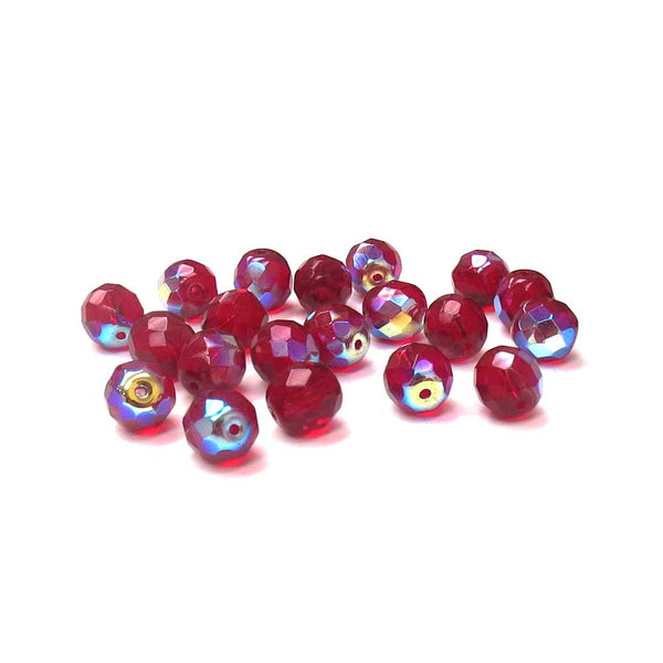 Garnet AB, Round Faceted Fire Polished AB-10mm; 20pcs