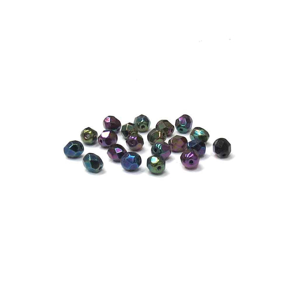 Green Irish, Round Faceted Fire Polished; 6mm - 20 pcs