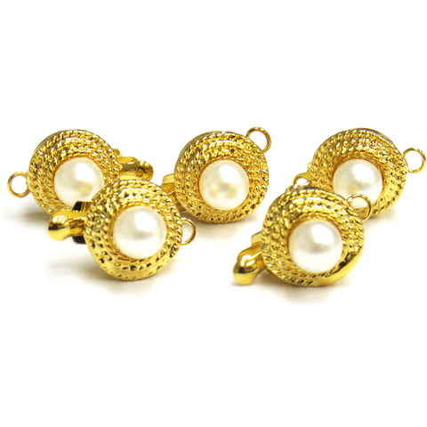 Pearl Box Clasp, Gold, 10 x 10 mm; 5 pieces