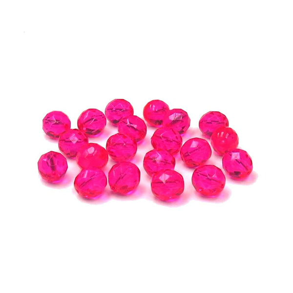 Hot Pink, Round Faceted Fire Polished; 12mm - 20 pcs