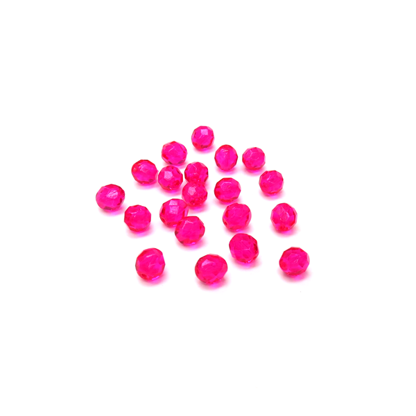 Hot Pink, Round Faceted Fire Polished; 8mm - 20 pcs