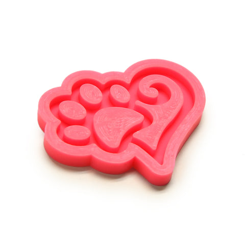 "Heart with Paw Pink Silicone Mold for Resin - Approx. 2.75""x2"""