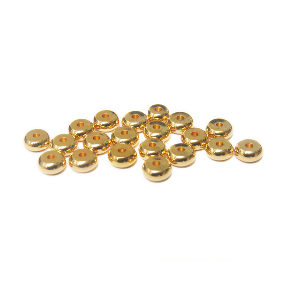 Heishe Spacer Bead, Gold Plated Brass, 5mm; 20 pieces
