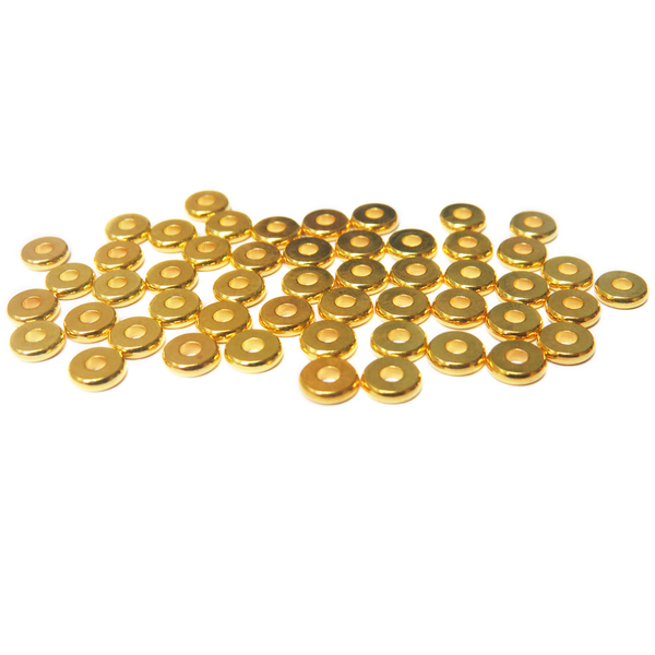 Heishe Spacer Bead, Gold Plated Brass, 6x6mm; 50 pieces