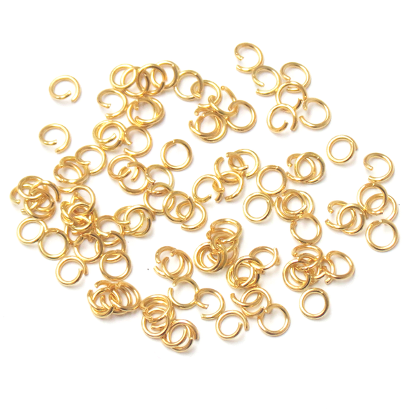 Jump Ring, Gold Plated Brass-5mm; 100pcs