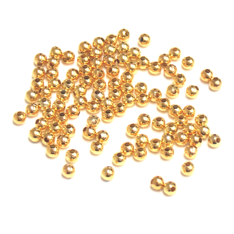 Smooth Round, Gold, Brass, 3mm