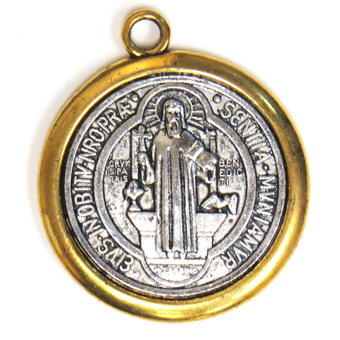 Saint Benedict Charm, Two Toned- Large; 36mm