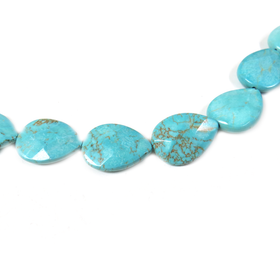 Turquoise Faceted Drop, 24x17mm - 1 piece