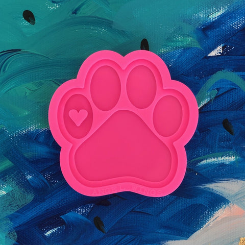 Paw with Tiny Heart - Pink Silicone Mold for Resin