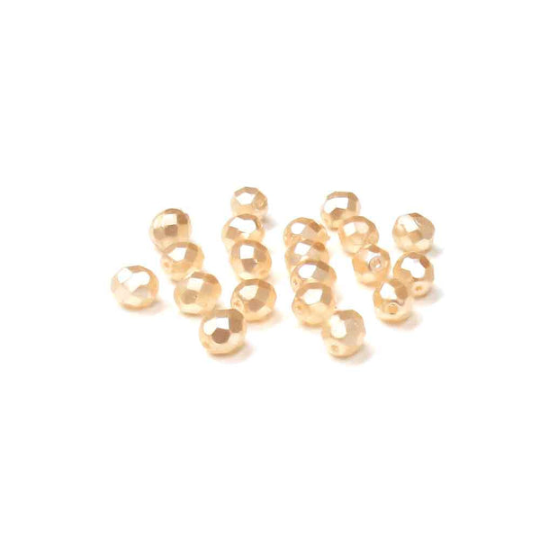 Ivory Pearl, Round Faceted Fire Polished; 8mm - 20 pcs