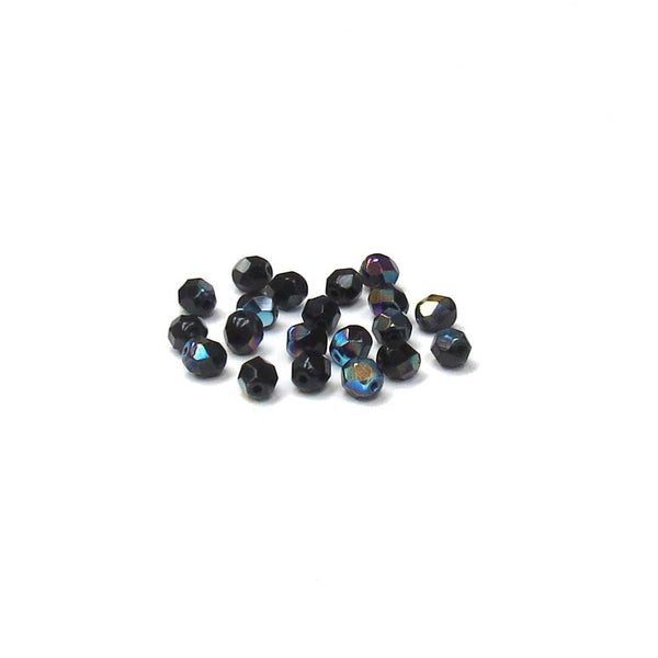 Jet AB, Round Faceted Fire Polished; 6mm - 20 pcs