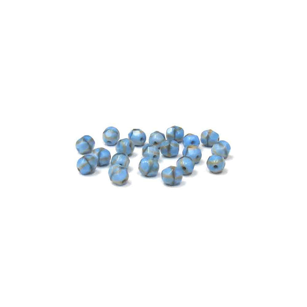 Light Blue with Cream Stripes, Round Faceted Fire Polished; 6mm - 20 pcs