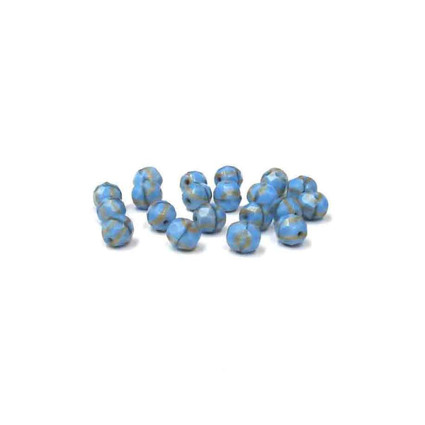 Light Blue wiht Cream Stripes, Round Faceted Fire Polished; 8mm - 20 pcs