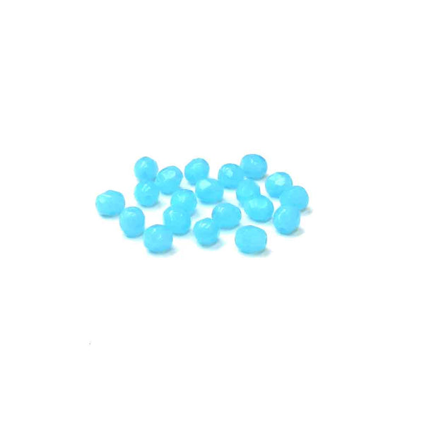 Light Opaque Blue, Round Faceted Fire Polished; 6mm - 20 pcs