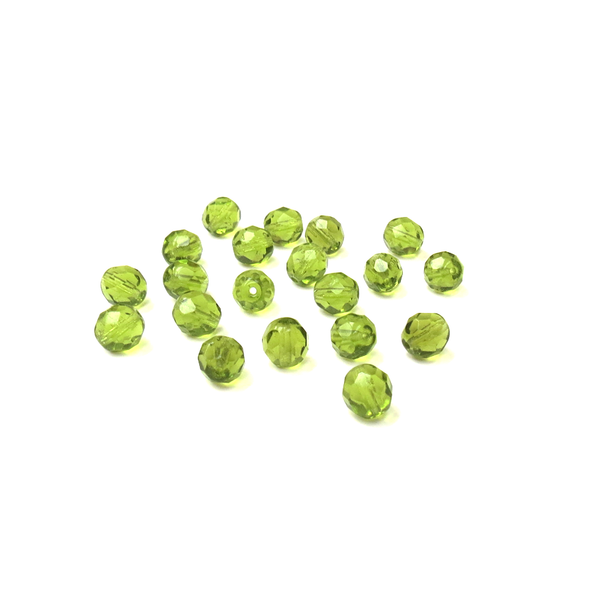 Light Olive, Round Faceted Fire Polished -8mm; 20pcs