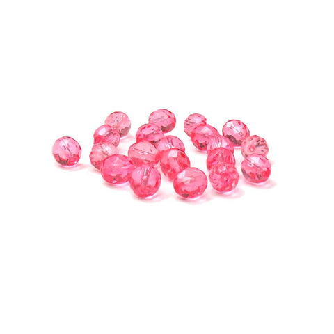Light Pink, Round Faceted Fire Polished; 10mm - 20 pcs