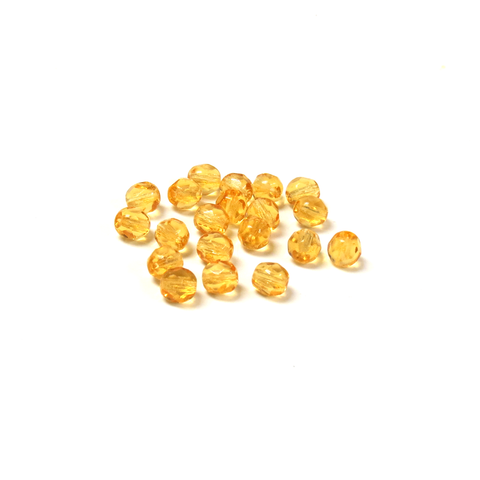 Light Topaz, Round Faceted Fire Polished; 6mm - 20 pcs