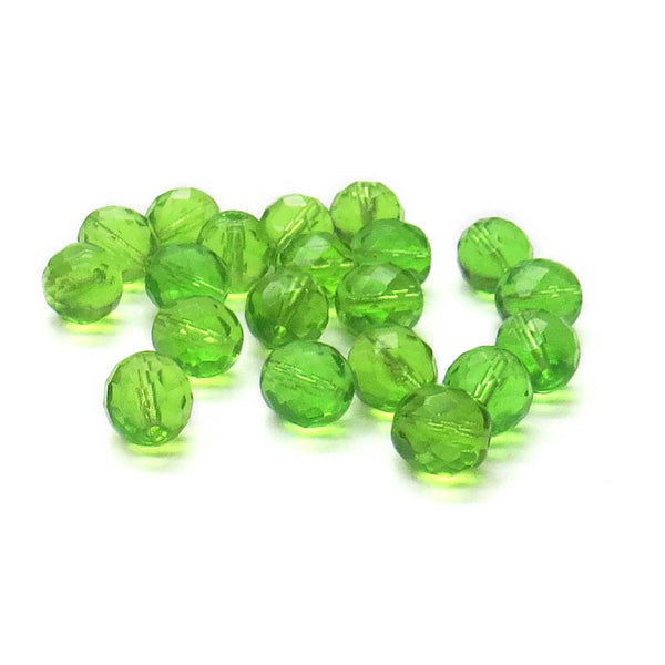 Light Olive, Round Faceted Fire Polished,12mm-20pcs
