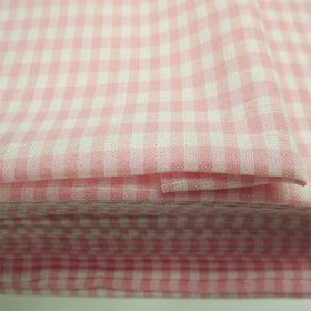 Light Pink, 100% Polyester Gingham Check 1/8- 58
