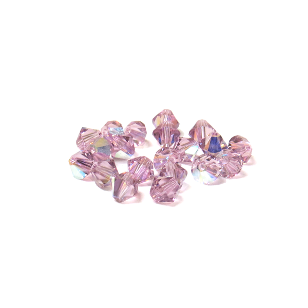 Swarovski Crystal, Bicone, 5mm - Light Amethyst AB; 20 pcs