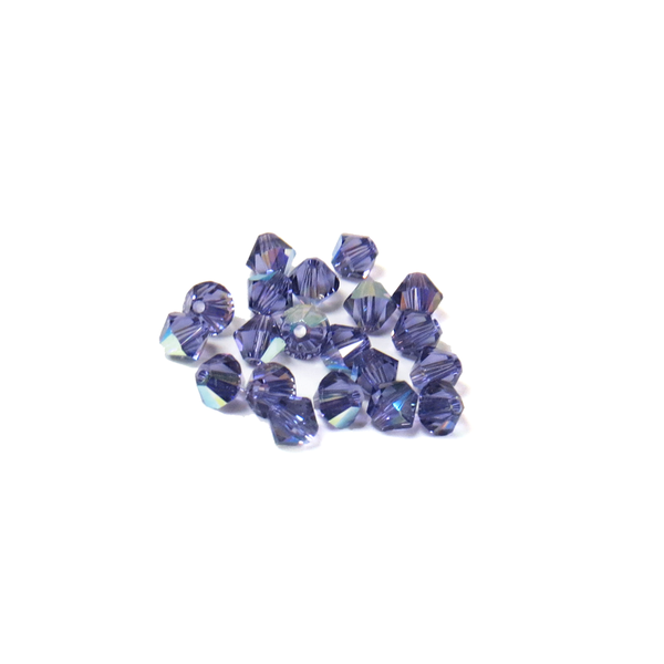 Swarovski Crystal, Bicone, 4mm - Tanzanite AB; 20 pcs