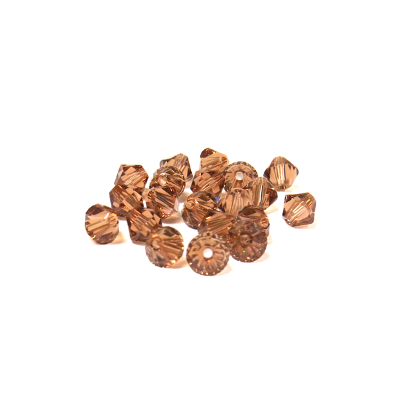 Swarovski Crystal, Bicone, 5mm - Light Smoked Topaz; 20 pcs
