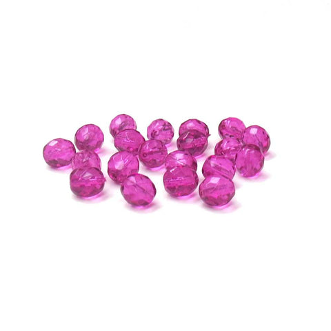 Magenta, Round Faceted Fire Polished Beads- 10mm; 20pcs