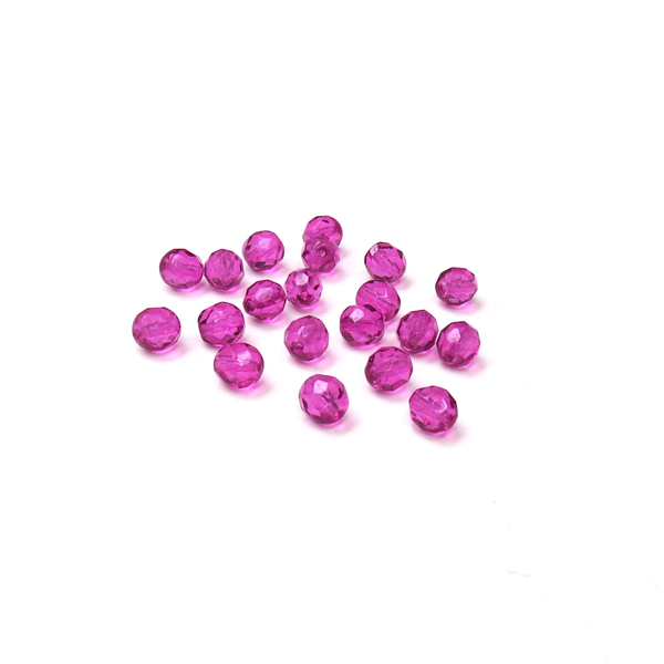 Magenta, Round Faceted Fire Polished; 8mm - 20 pcs