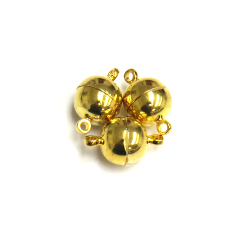 Round Magnetic Clasp, Gold, 10mm; 3 pieces