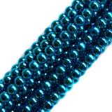 Glass Pearl- Metallic Turquoise, 8mm; 1 strand