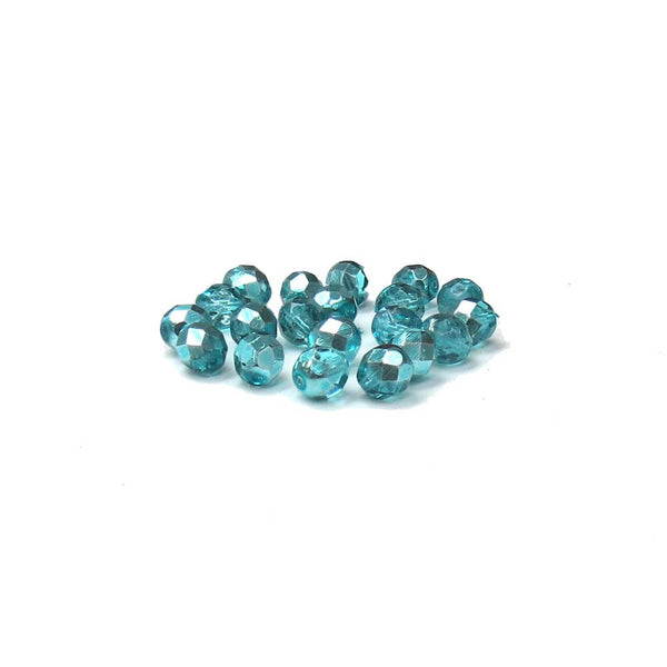 Two Tone Metallic Turquoise, Round Faceted Fire Polished, 8mm - 20 pcs
