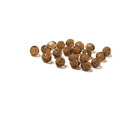 Mocca, Round Faceted Fire Polished; 6mm - 20 pcs