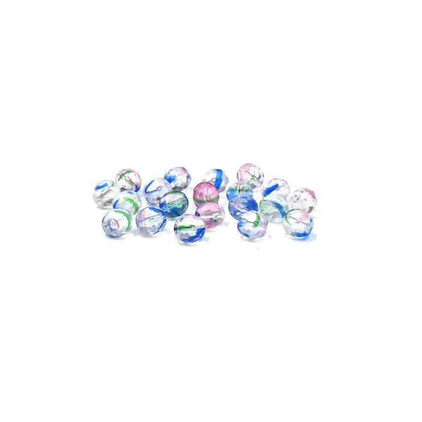 Crystal with Blue, Green and Pink Stripes, Round Faceted Fire Polished, 8mm - 20 pcs