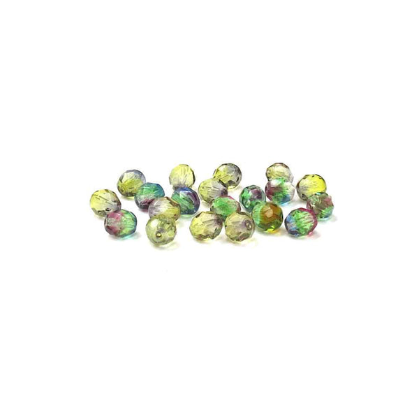 Multi Green, Round Faceted Fire Polished, 8mm - 20 pcs