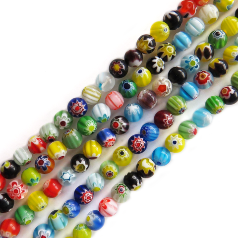 Medium Round Millefiori, Multicolor, 5mm; 1 strand