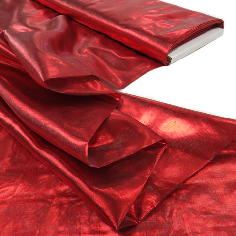 "Red, Metal Tissue Lame - 60"" wide; 1 Yard"