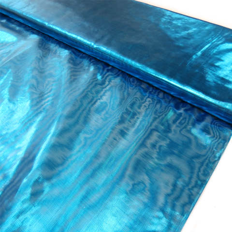 "Turquoise, Metal Tissue Lame - 60"" wide; 1 Yard"