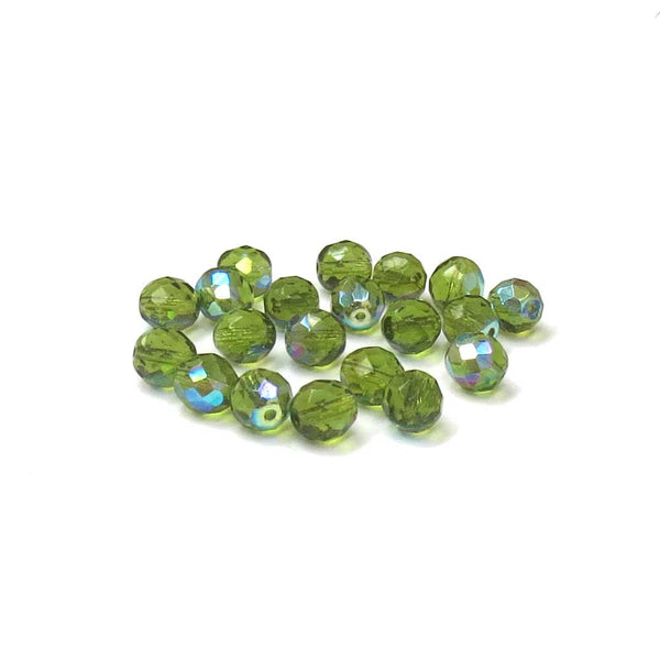 Olive AB, Round Faceted Fire Polished Beads-10mm; 20pcs