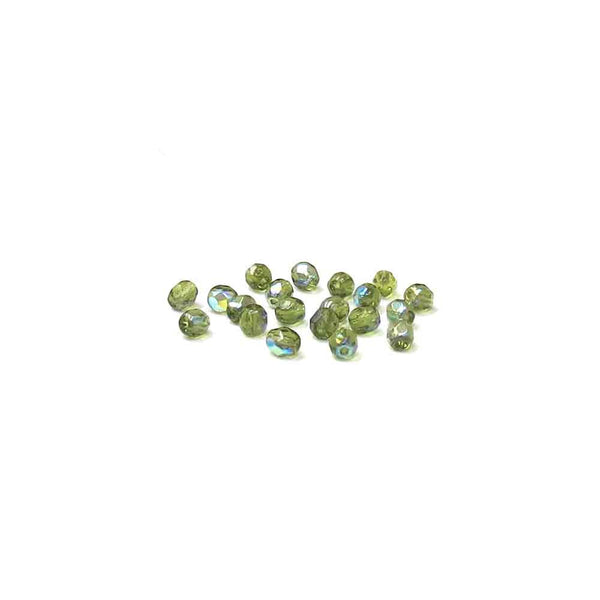 Olive AB, Round Faceted Fire Polished; 4mm - 20 pcs