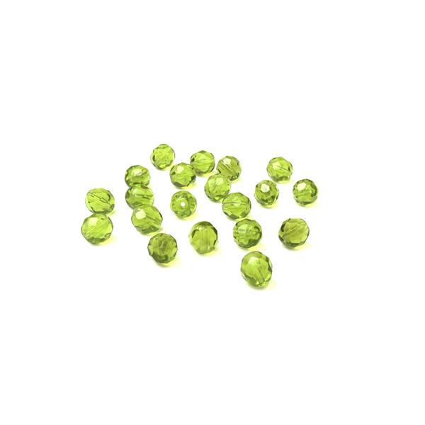 Light Olive, Round Faceted Fire Polished; 6mm - 20 pcs