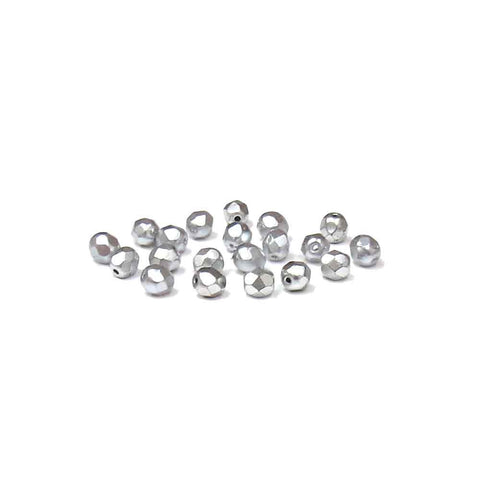 Opaque Silver, Round Faceted Fire Polished; 6mm - 20 pcs
