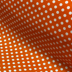 Orange and White Polka Dots - 100% Cotton Print Fabric, 44/45