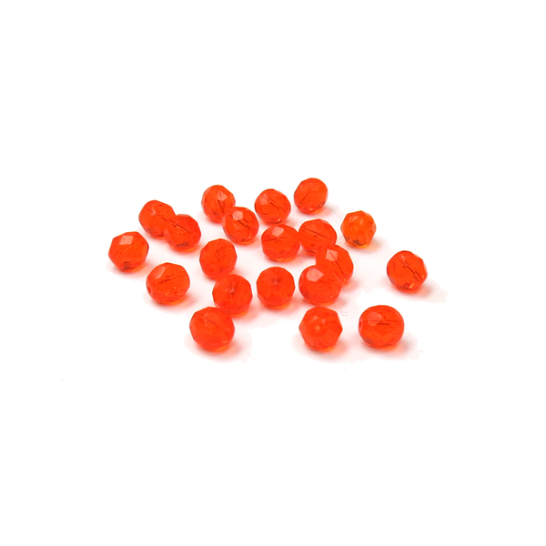 Orange, Round Faceted Fire Polished; 8mm - 20 pcs