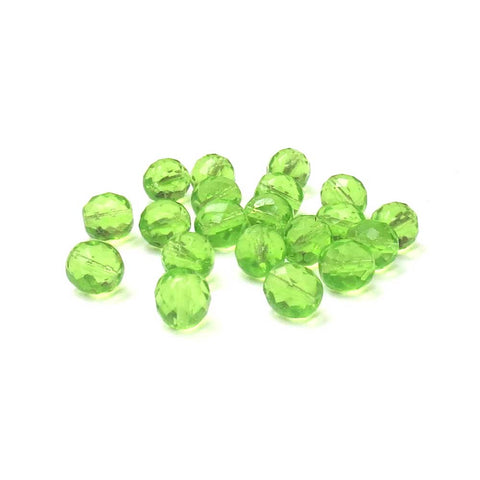 Peridot, Round Faceted Fire Polished; 12mm - 20 pcs