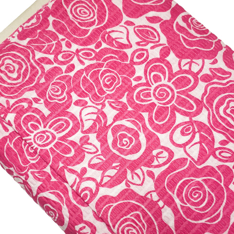 "Pink Flowers Textured Print Fabric, 45"" Wide- Available in different lengths"