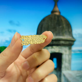 Puerto Rico Map Connector - Small - Brass + 24k Gold Plate - 1 pc