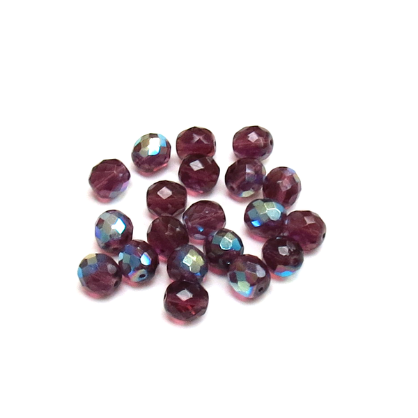 Purple AB, Round Faceted Fire Polished- 10mm; 20pcs