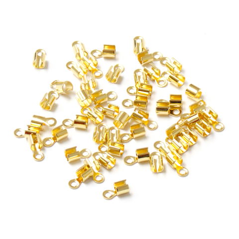 End Cord, Gold Plated Brass-10x5mm; 50pcs
