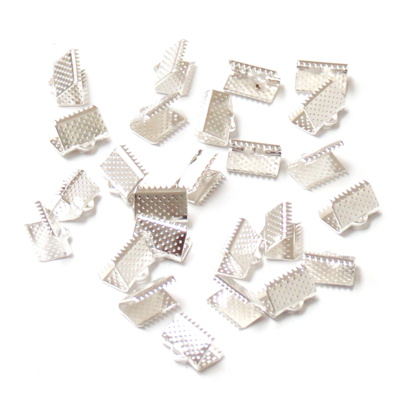 Iron Ribbon Ends, Silver Plated-7x5mm; 40pcs